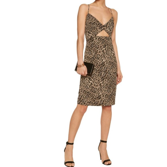 Michelle Mason Woman Cutout Leopard-print Crepe Dress Brown Size 8 Michelle Mason JgtIX